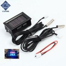 0 56 Red Blue Dual Display Digital LED Thermometer Temperature Meter Waterproof Metal Probe Sensor Module