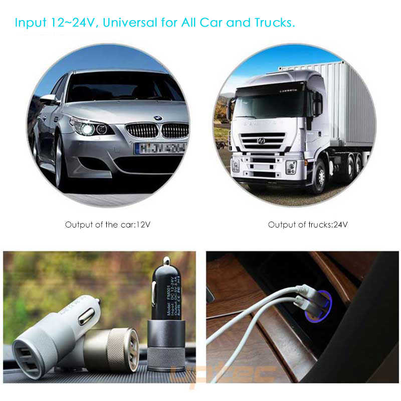 SUPTEC Universal Car Charger Metal Dual USB Adapter Fast Charging for iPhone 8 7 6 Samsung Xiaomi Cigarette Lighter Car-Charger