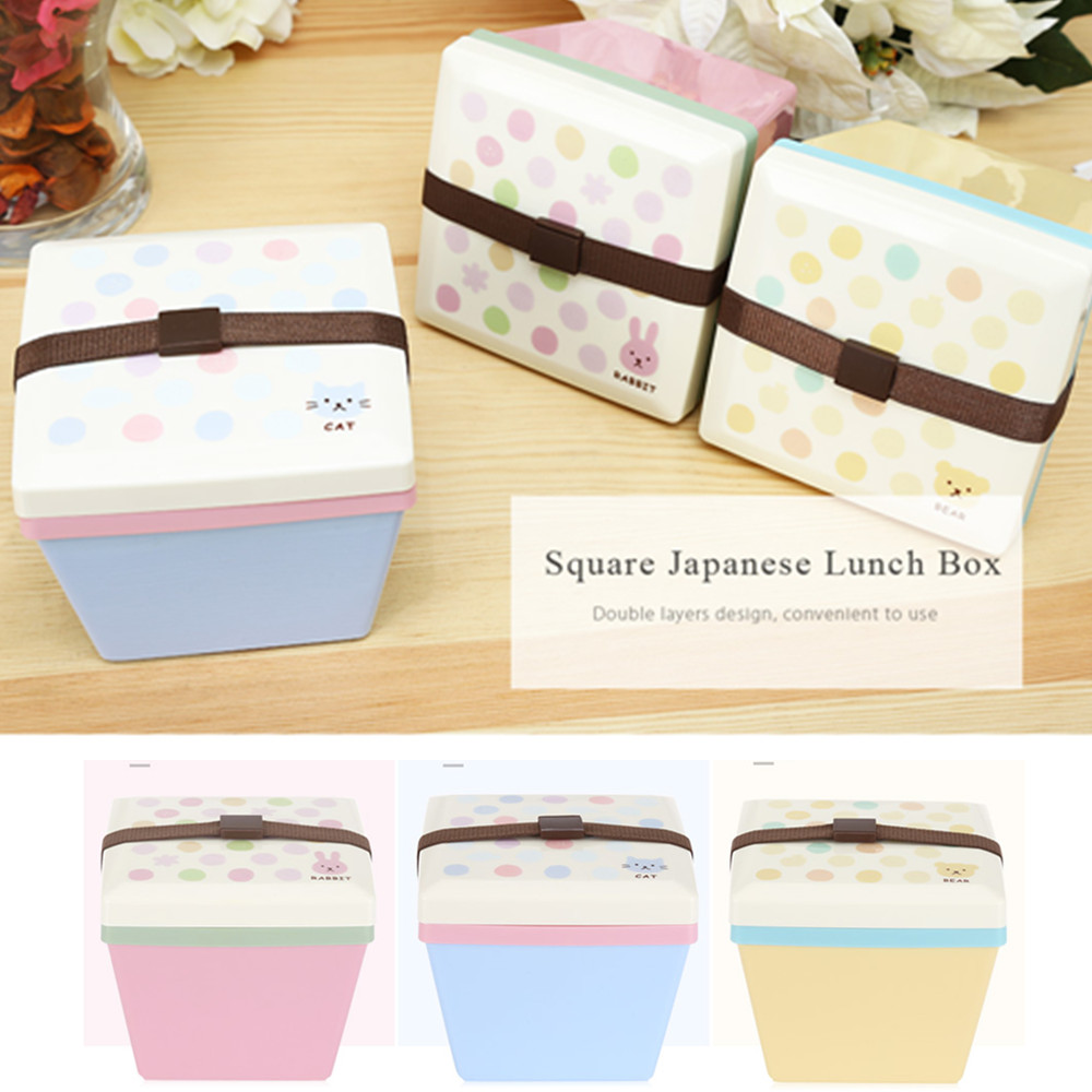 Japanese Bento Box Container with Fork Square Double Layer Boxes ...