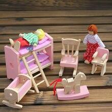Деревянная Кукла Двухъярусные Кровати, Набор Мебели Dollhouse Миниатюрные Для Детей Ребенка Play Игрушки Развивающие Игрушки Деревянные Toys Baby Toys Подарок # 1JT F