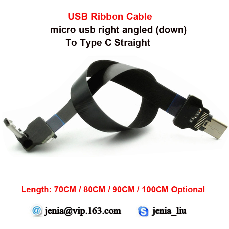 70CM/80CM/90CM/100CM longer distance Ultra thin USB Flat ribbon cable Type C Straight to male Micro down angled 90 degree 40cm 50cm 60cm ultra thin usb flat ribbon cable type c straight to male micro down angle line connector