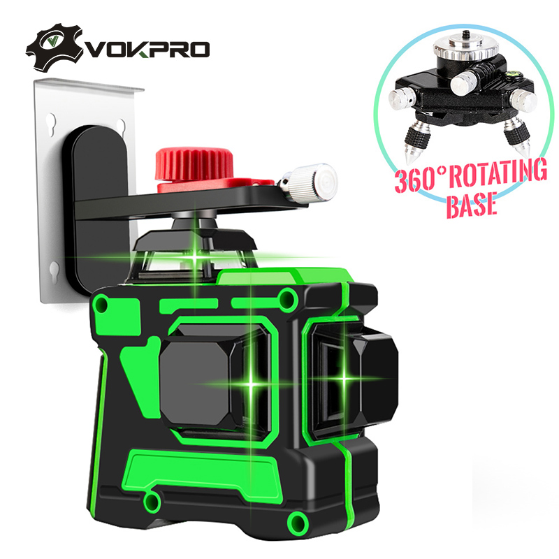 12 Lines 3D Laser Level With Lithium Battery 360 Degree Self Leveling Horizontal Vertical Cross Lines