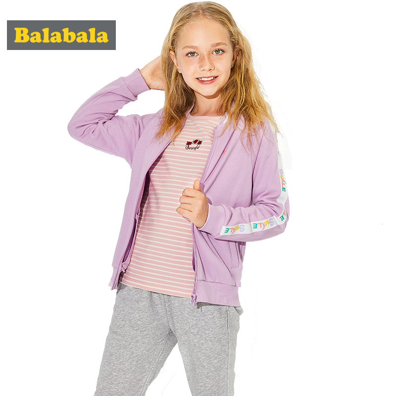 2018 Balabala New Spring Girls clothes 2pcs Sets Jacket&Pant Children Clothing Sport trackSuits Cotton clothes for Kids Wear 2018 balabala new spring girls clothes sets t shirt pants 2pcs set long sleeve clothing children casual suits cotton kids wear