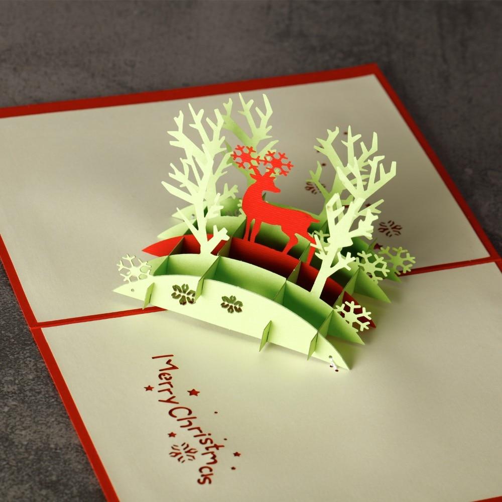 3D Merry Christmas Reindeer Custom Greeting Card Postcards Handmade Card Birthday Gifts Thanksgiving Greeting Card