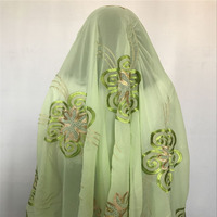 2018 New high quality african scarfs muslim embdroidery women net big flower aqua green scarf for shawls