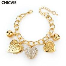 Женский браслет с сердечками chicvie золотистого цвета цепочкой