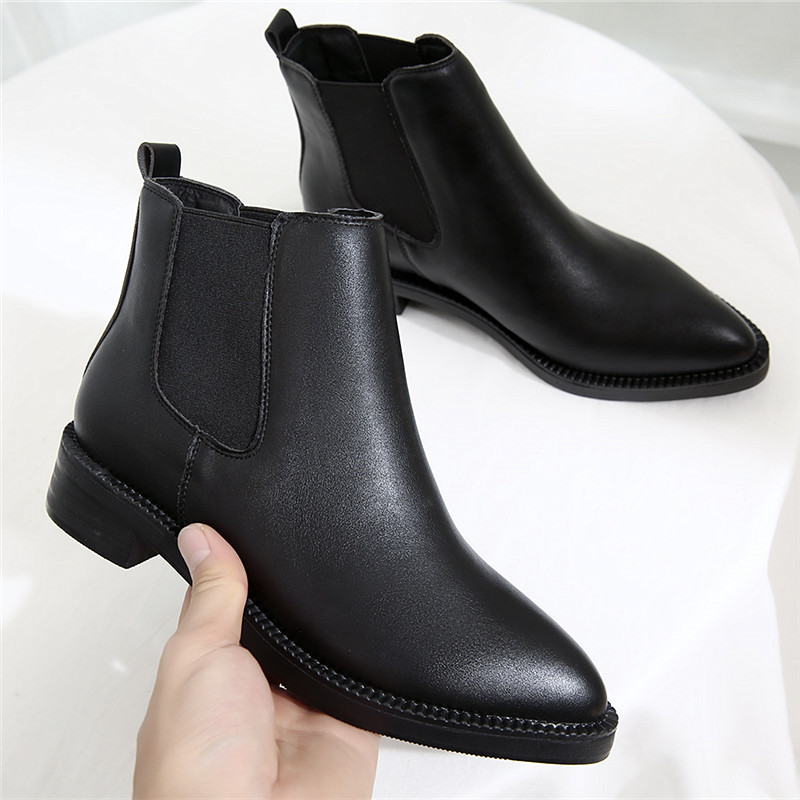 Classic Black Fashion Autumn Winter Boots Brand New Pointed Toe Square High Heels Snow Boots Female Shoes Women Ankle Boots new autumn winter warm women shoes snow boots square high heels artificial leather top casual female elastic band ankle shoes