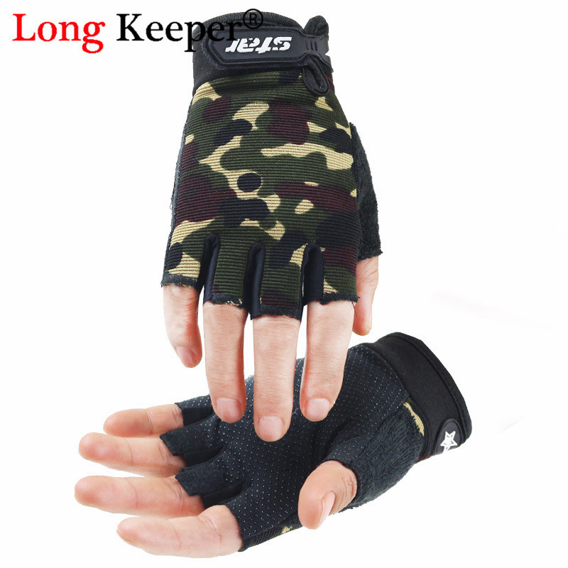 Fingerless Men Women  Gloves Non-slip Sport Mittens Camo Gloves for Kids Adults Outdoor Fitness Half Finger Cycling Gloves Luva