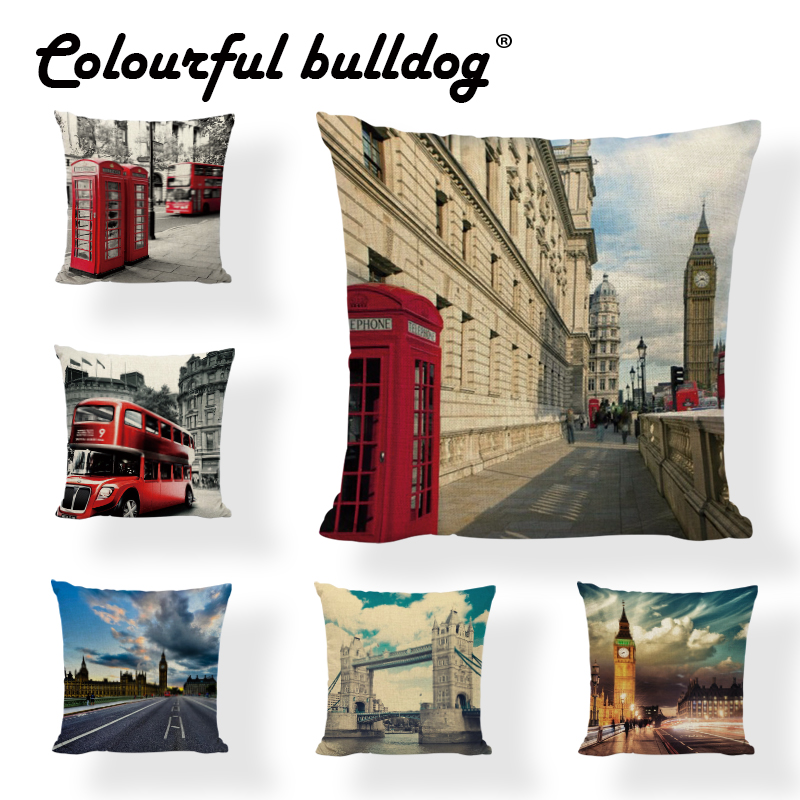 Dropshipping Cushion Cover London Building Square 45*45cm