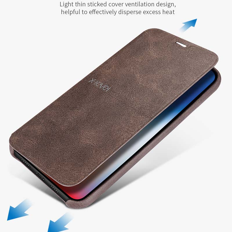 X-Level Luxury top Quality Retro Classic Flip Leather Case Coque For iphone 6 6S 6Plus 7 7Plus 8 8Plus X XS XR XSMax Case KS0129
