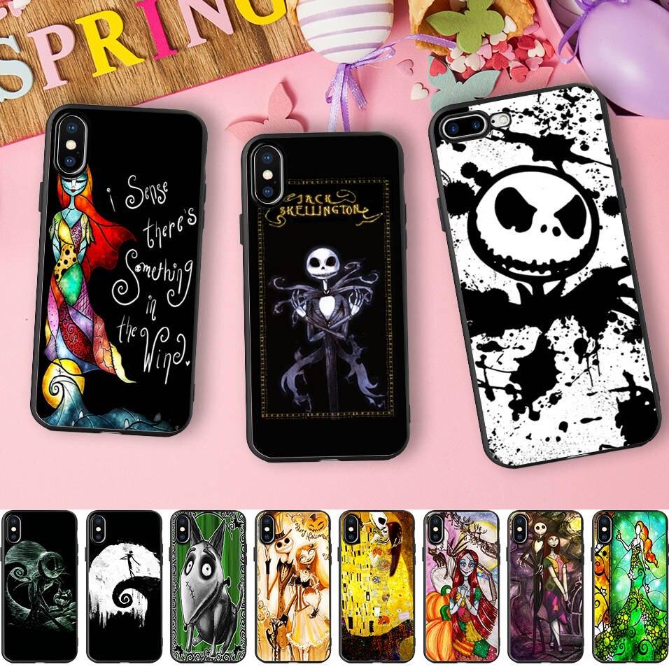 Drôle De Citrouille Roi Jack Skellington Halloween Doux Silicone Téléphone étui pour iphone X 5 S 5 S XR XS Max 6 6 S 7 8 Plus Couverture