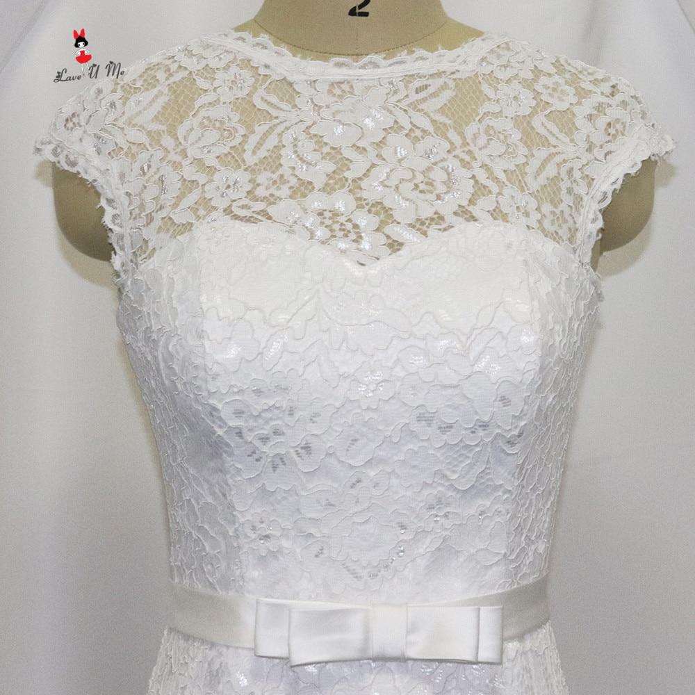 Vestido de Noiva Curto Weiße Spitze Hochzeitskleid Short Knielangen ...