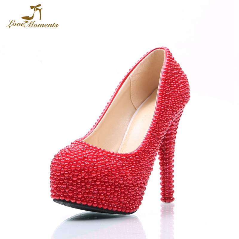 Wholesale Price Red Pearl Women Pumps 4 Inches High Heel