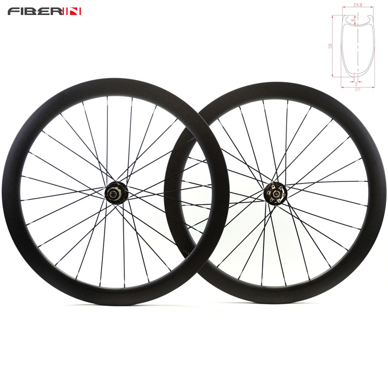 700C 50mm Clincher asymmetric cyclocross disc brake beadless wheelset disk hookless carbon tubuless wheels