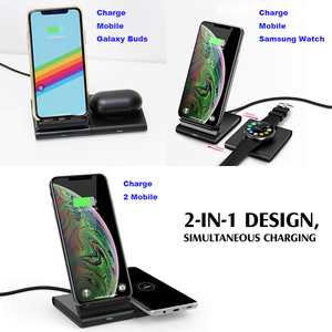 Image 4 - Wireless Charger Stand for Samsung Galaxy Watch active Buds Gear S2 S3 S4 Sport Mobile Phone Fast QI Wireless Charger Pad 10W