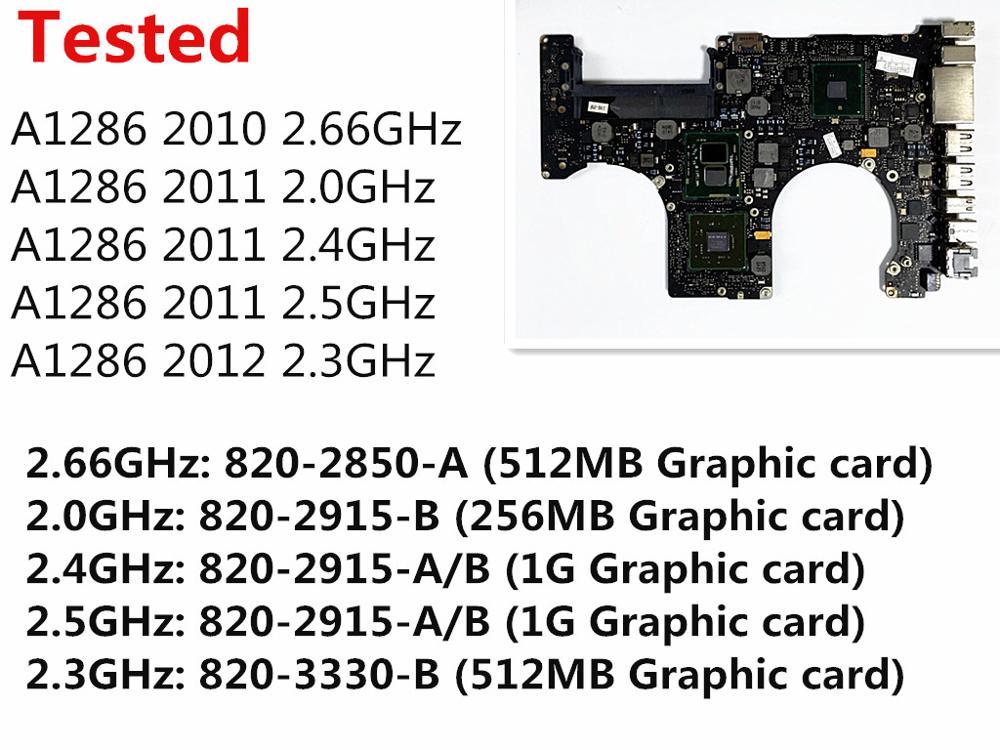 Тестирование материнской платы для Macbook Pro 15 A1286 2010 ноутбук материнскую плату i7 2,66 ГГц 820-2850-A 2011 2,0 ГГц 820-2915-B 2012 2,3 ГГц