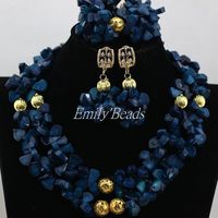 Gorgeous Navy Blue African Coral Beads Necklace Set Nigerian Wedding Indian Bridal Jewelry Set 2016 New Free Shipping CJ666
