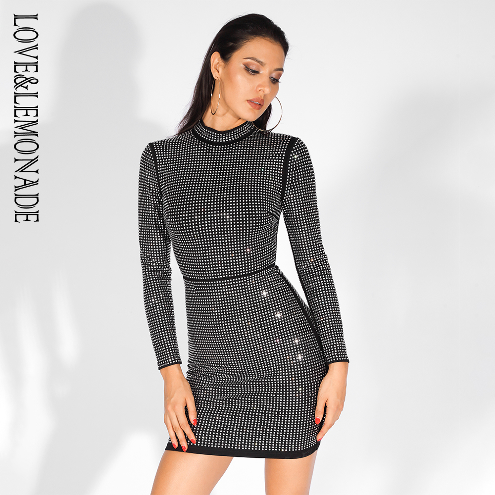 Love Lemonade Black Stand Collar Wrap Chest Glue Diamond Decoration Bodycon Long Sleeve Party Dress LM81559