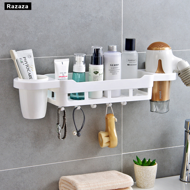 Bathroom Shelves Plastic Makeup Organizer Storage Rack Shelf For Kitchen Towel Holder Drain Hanging Hook Hair