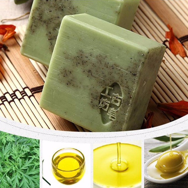 Handmade Wormwood Essential Oil Soap Anti-Allergic Exfoliating Cleansing Face