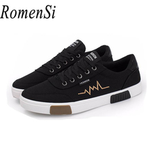 RomenSi New Casual Round Canvas Flats Shoes Men Fashion 3 Color Lace-up Rubber Non-slip Walking Shoes For Man Size(EUR) 39-44