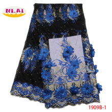 Luxury Lace Fabric, 3D Lace Beaded Fabric, Royal Blue Black Lace Fabric, African Lace Fabric For Wedding MR1909B(China)