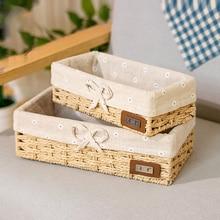 Соломенная корзина для хранения корзина из искусственного ротанга тканевая настольная коробка для хранения плетеная корзина для хранения ключей коробка для хранения еды для перекуса
