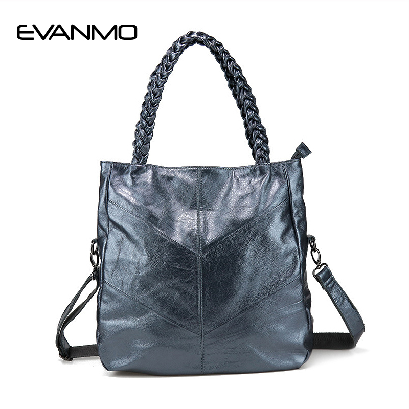 2017 New Design Women Handbag Genuine Leather Shoulder Bag Female Handbag Leather Daily Bag Top Handle Women Tote Bag Light Blue genuine leather female handbag autumn bag large size women shoulder bag daily vintage women bag causal bag