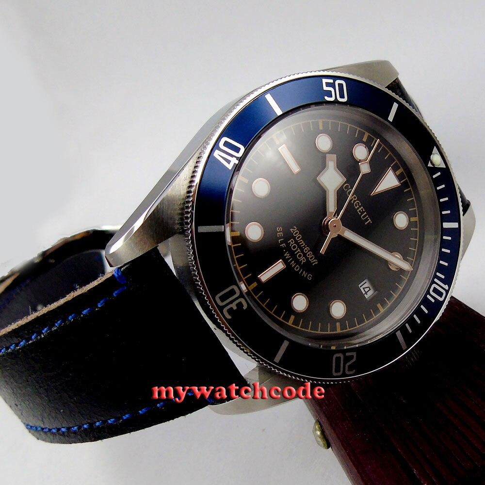 41mm corgeut black dial blue insert stainless steel case date window Sapphire Glass miyota 8215 Automaticmatic Watch C8 коньки onlitop 38 41 blue black 1231419
