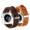 Retro brown leather strap & Classic stainless steel clasp Band For apple watch 42mm / 38mm With adapter Watchband
