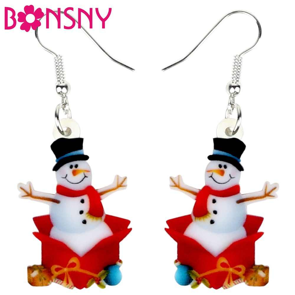 Bonsny Acrylic Christmas Snowman Gift Earrings Drop Dangle Cartoon New Year Jewelry For Women Girls Teens Charms Wholesale 2019