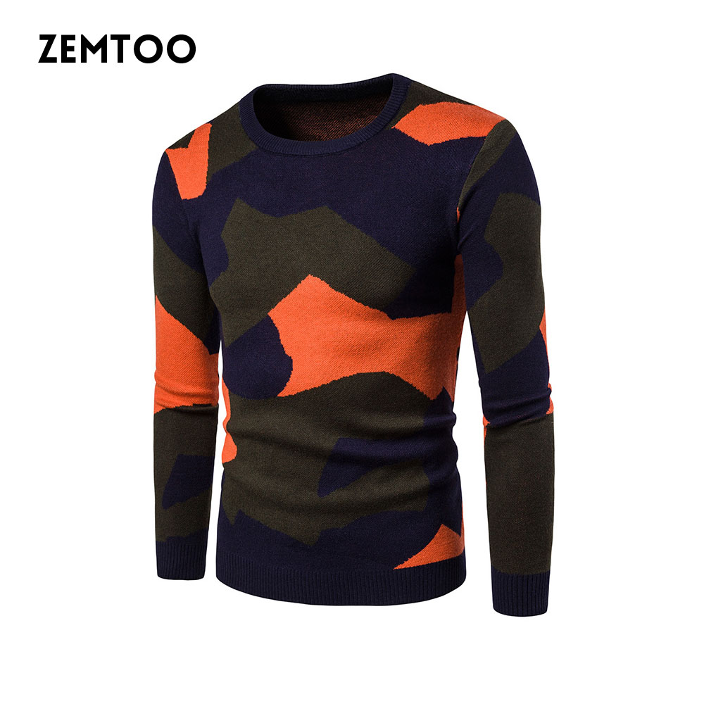 zemtoo 2017 New Autumn Fashion Brand Casual Sweater O-Neck Striped Slim Fit Knitting Mens Sweaters And Men Pullover ZE0412