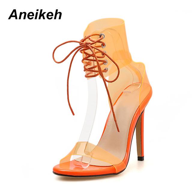 Women Transparent Peep Toe Lace Up High Heel Sandals