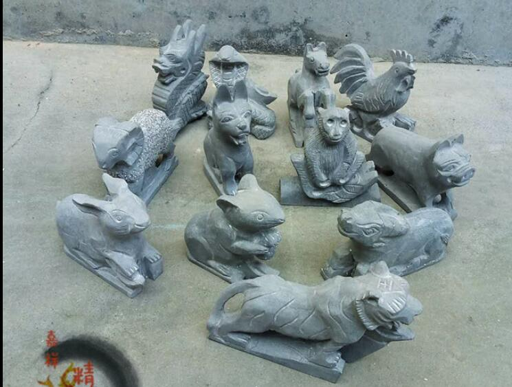 Chinese Zodiac Natural Stone Sculpture Set Pieces Of Rat And Ox