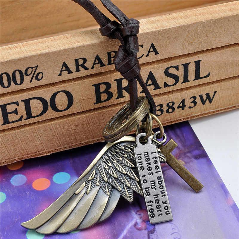 Lureme marca joyería antigua Vintage ala de Ángel hombres cuero genuino cadena collar dijes colgantes collares al por mayor