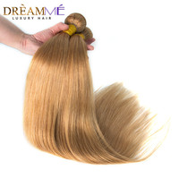 #27 Honey Blonde Brazilian Straight Human Hair Weave 3 Bundles Remy Human Hair Extension Weave Dream me Hair Products