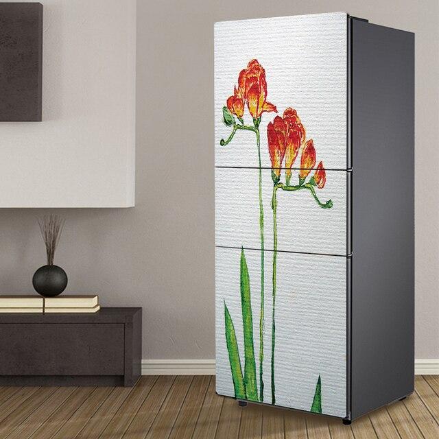 Yazi Flower Refrigerator Door Sticker Wallpaper Peel Stick PVC Self  Adhesive Fridge Cover Wrap 60x150cm 60x180cm
