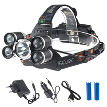 5 Led Bulbs Flashlight Head Rechargeable 18650 Miner Headlamp Cree T6+4*R5 Waterproof USB Charging Cap Light for Hunting Camping
