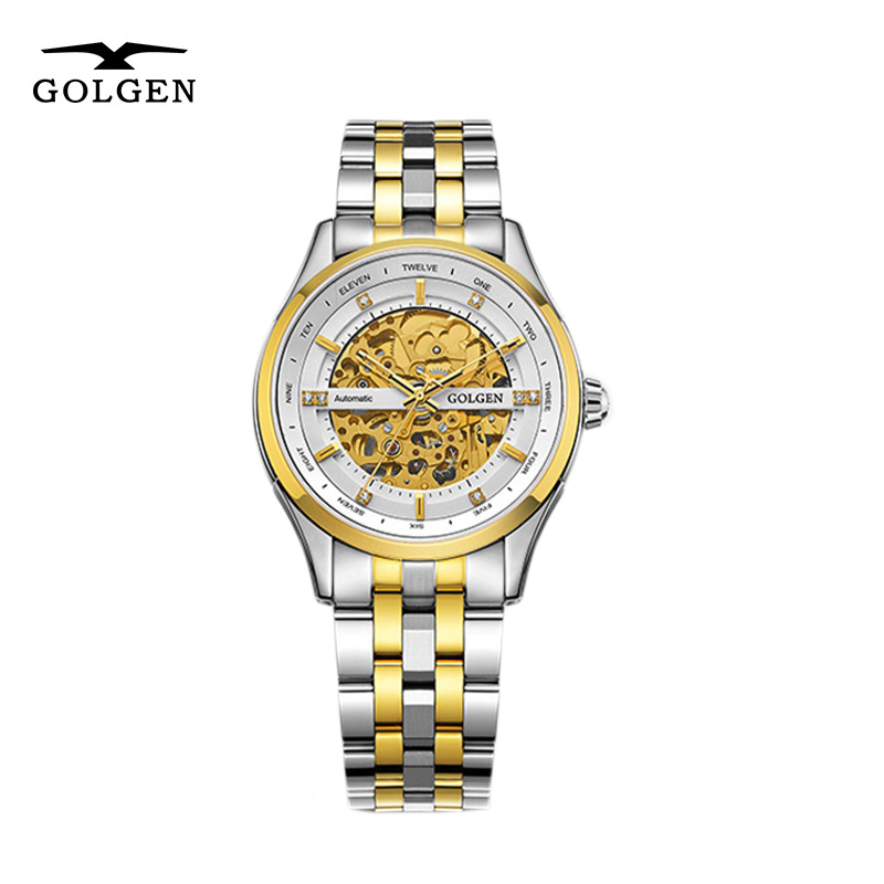 GOLGEN Skeleton Watches Stainless Steel Mechanical Watch Men 50M Waterproof Business Relogio MasculinoGOLGEN Skeleton Watches Stainless Steel Mechanical Watch Men 50M Waterproof Business Relogio Masculino
