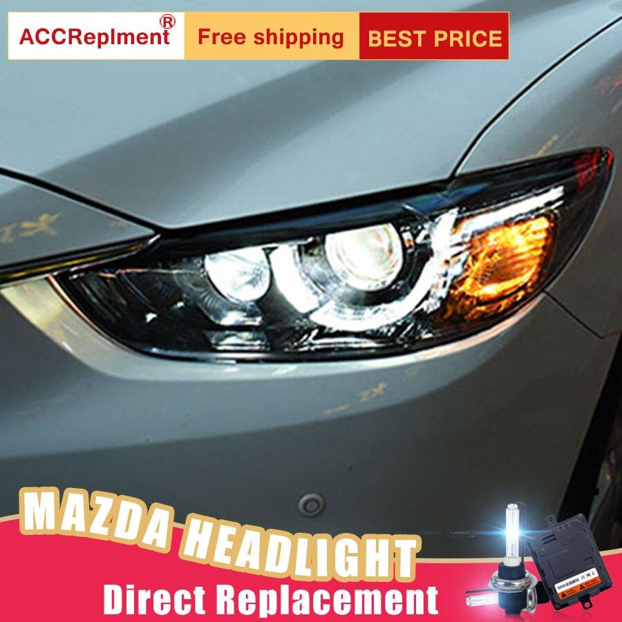 2 pcs LED Phares Pour Mazda 6 2014-2017 led feux de voiture Ange yeux xénon HID KIT Brouillard lumières LED Feux de jour