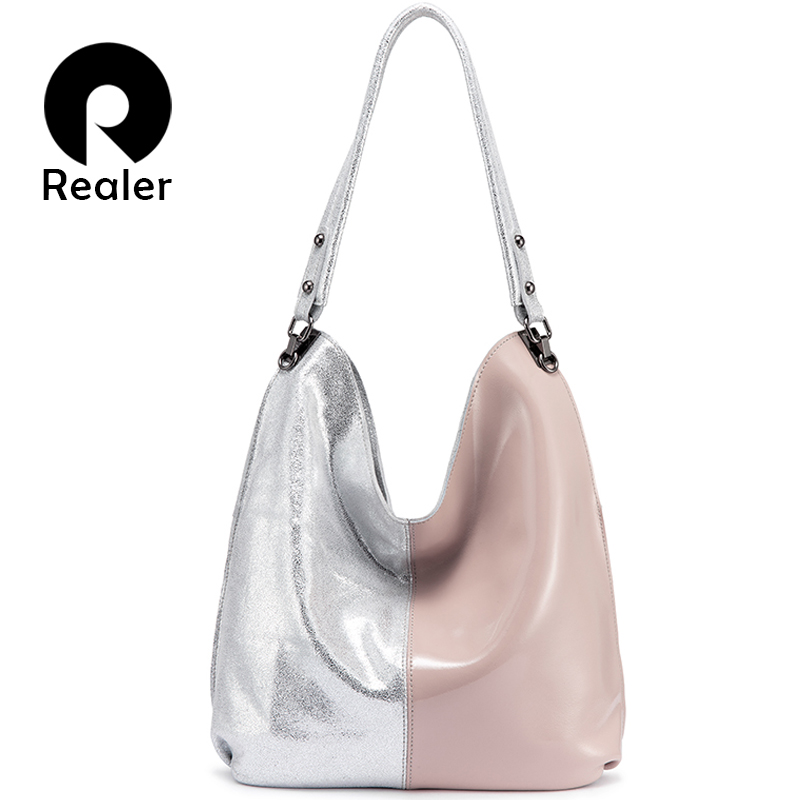 REALER women shoulder bag genuine leather Hobo bag for ladies 2019 Patchwork Totes female luxury handbags