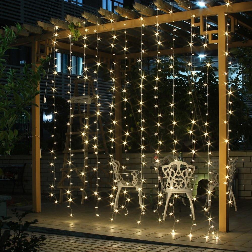 Curtain christmas lights - 3m X 3m 300 Led String Curtain Light Outdoor Party Christmas Festiva String Fairy Wedding Curtain