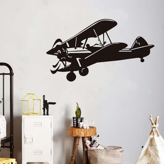 Aircraft Wall Stickers Muraux Decor Clic Design Airplane Art Decal Decoration Vinyl Removable Helicopter