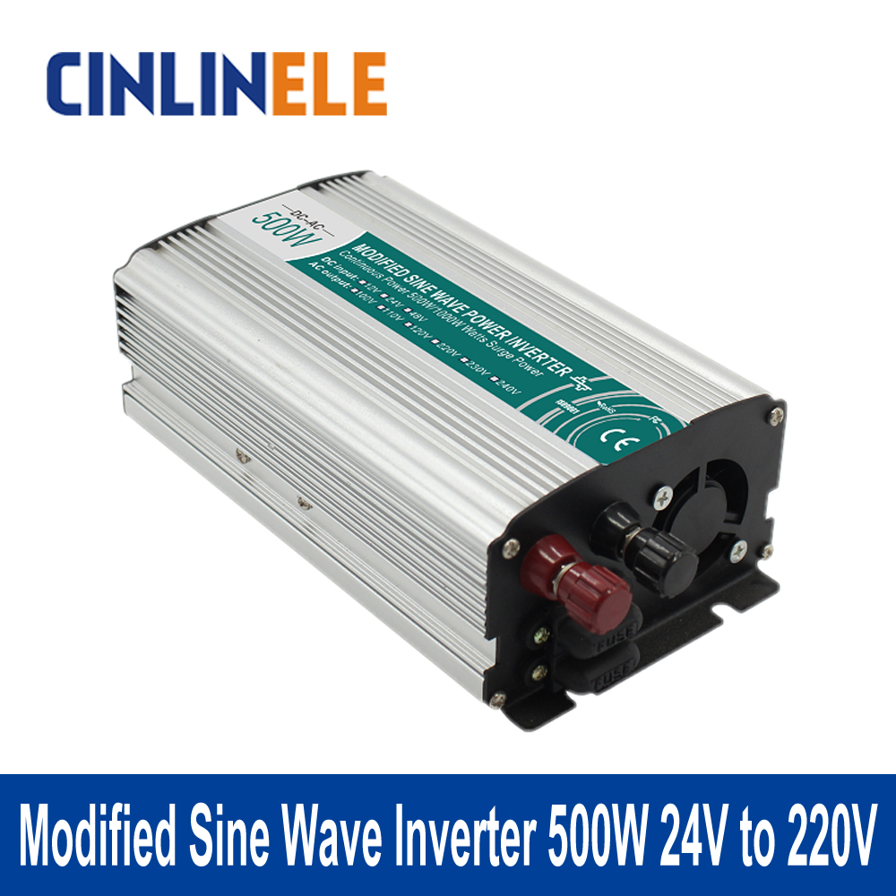Modified Sine Wave Inverter 500W CLM500A-242 DC 24V to AC 220V 500W Surge Power 1000W Power Inverter 24V 220VModified Sine Wave Inverter 500W CLM500A-242 DC 24V to AC 220V 500W Surge Power 1000W Power Inverter 24V 220V