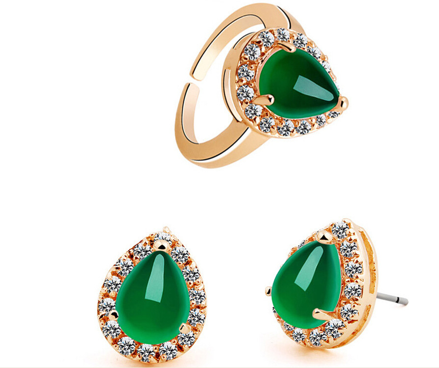 Natural word Fine Womens gift Quartz stone 2.1ct Green Nano gem earring ring set Solid    Box Chain silver-jewelryNatural word Fine Womens gift Quartz stone 2.1ct Green Nano gem earring ring set Solid    Box Chain silver-jewelry