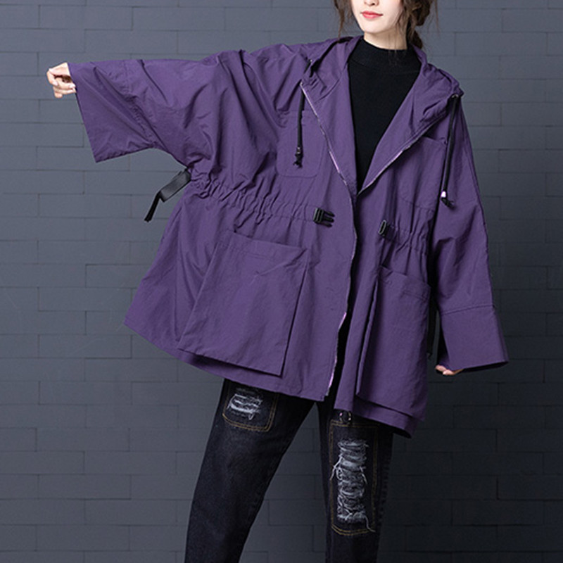 Big Size Spring Autumn   Trench   Coat Women Lace Up Batwing Sleeve Windbreaker Female 2019 Korean Hooded Casual Loose Outerwear