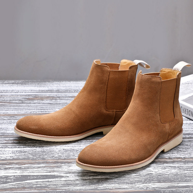 Mens Boots' Slip-On Suede Men Boots Casual Genuine Leather Chelsea Boots Men Full Grain Leather Fashion Ankle Boot Mens Big Size цены