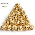 50 шт./лот, металлический шар с кристаллами и стразами, 8 мм, разделительные бусины для ювелирных изделий, фурнитура для самостоятельного изго...