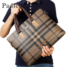 Padieoe New Arrival Men Briefcase Lattice Pattern Fashion Handbag Shoulder Bags Brand High Quality Laptop Bag for Man