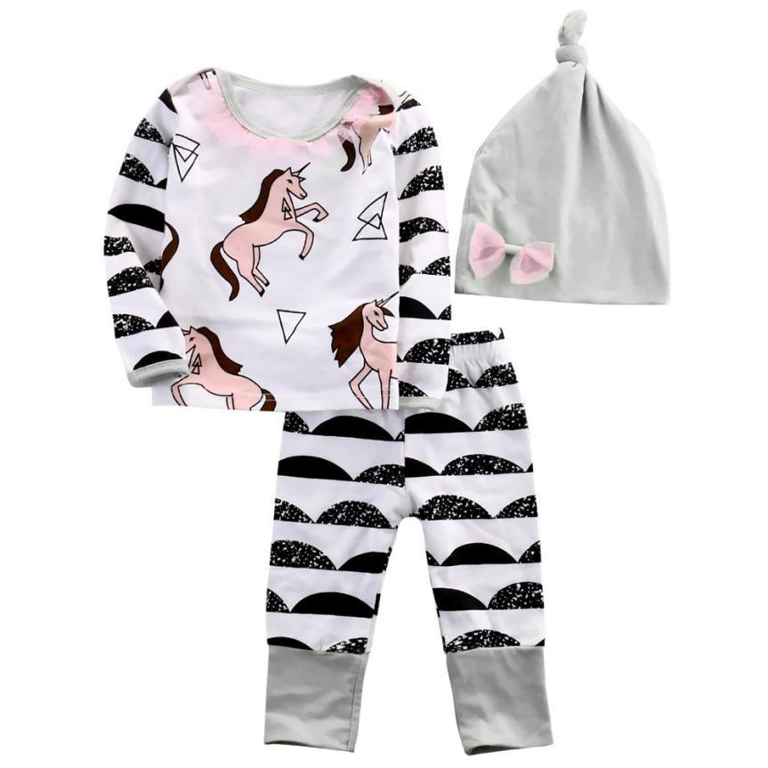 Clothes Set 2017 Fashion Baby Girl Stripe Horse Long Sleeve T-shirt Pants Hat 3pcs Outfits Set D50